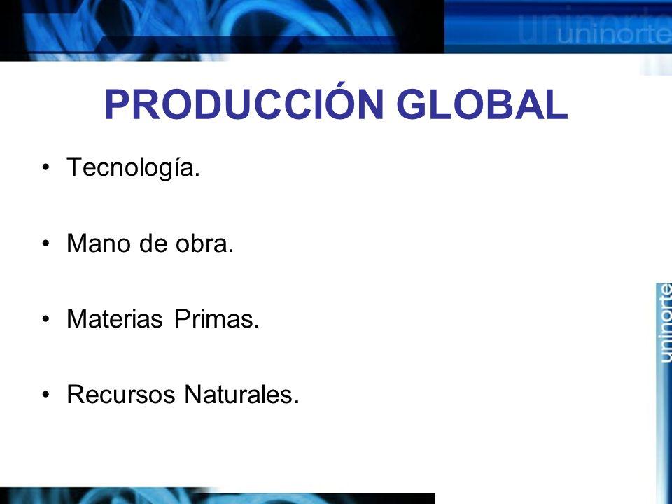 PRODUCCIÓN GLOBAL Tecnología. Mano de obra. Materias Primas.