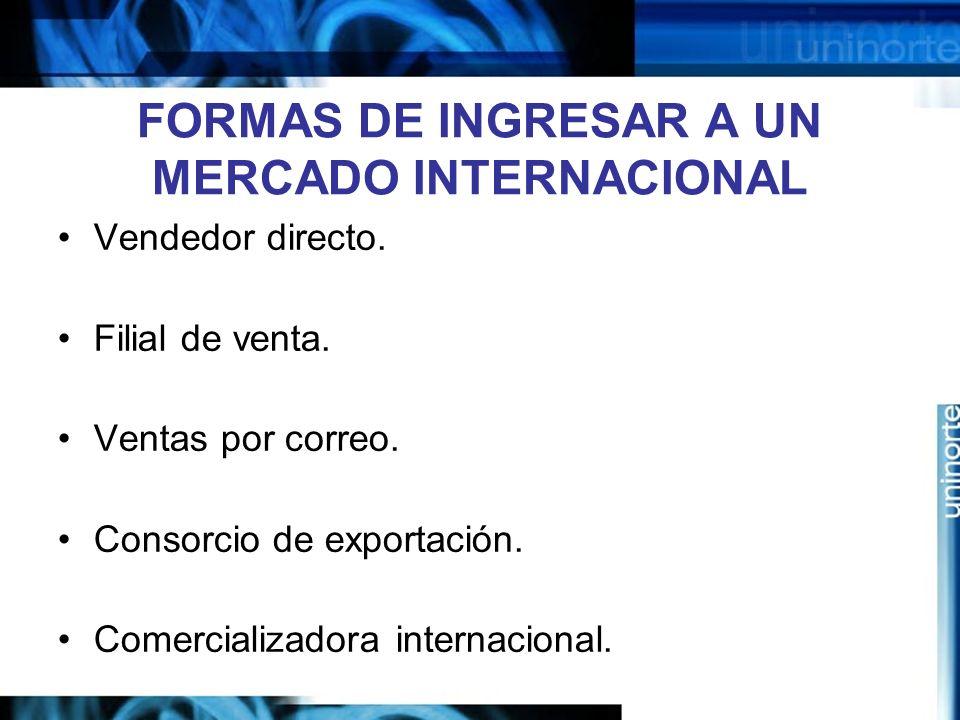 FORMAS DE INGRESAR A UN MERCADO INTERNACIONAL