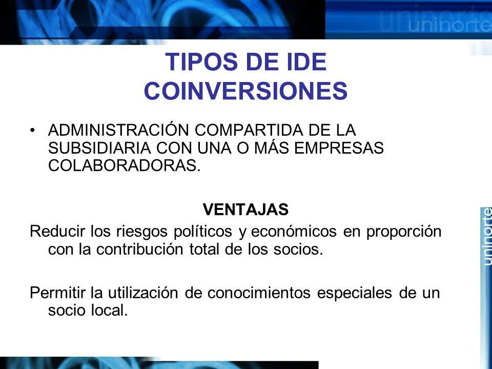 TIPOS DE IDE COINVERSIONES