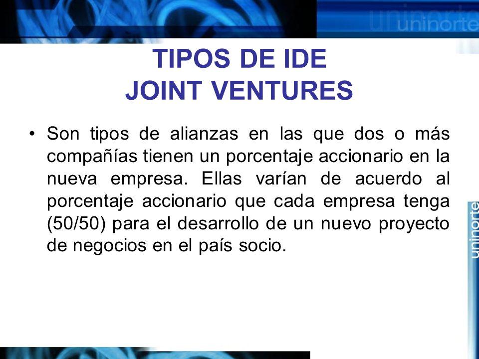 TIPOS DE IDE JOINT VENTURES
