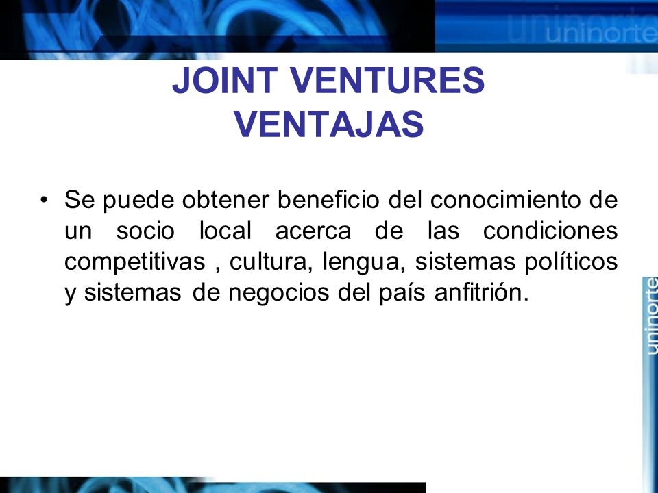 JOINT VENTURES VENTAJAS
