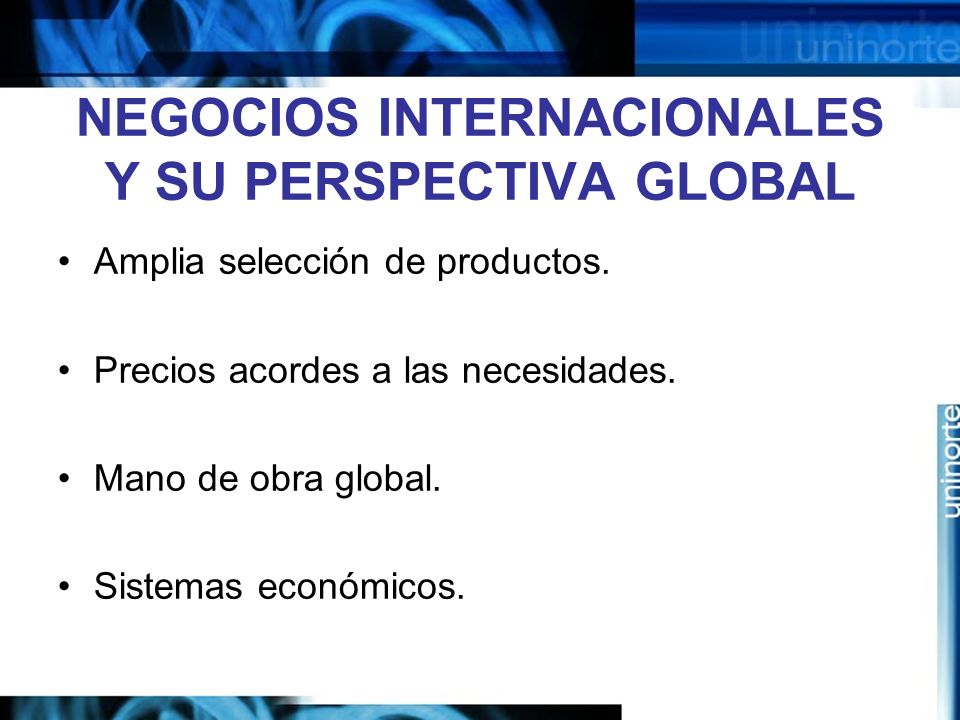 NEGOCIOS INTERNACIONALES Y SU PERSPECTIVA GLOBAL