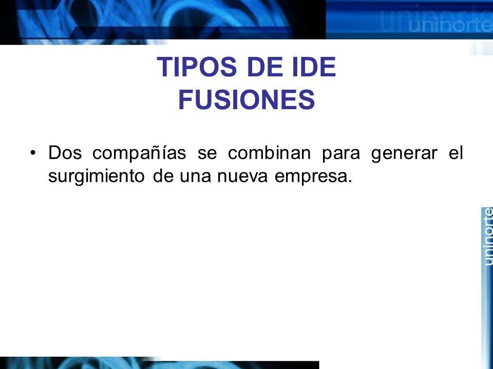 TIPOS DE IDE FUSIONES Dos compañías se combinan para generar el surgimiento de una nueva empresa.