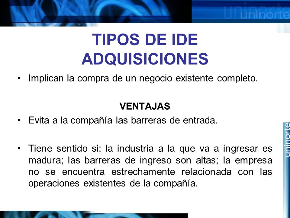 TIPOS DE IDE ADQUISICIONES