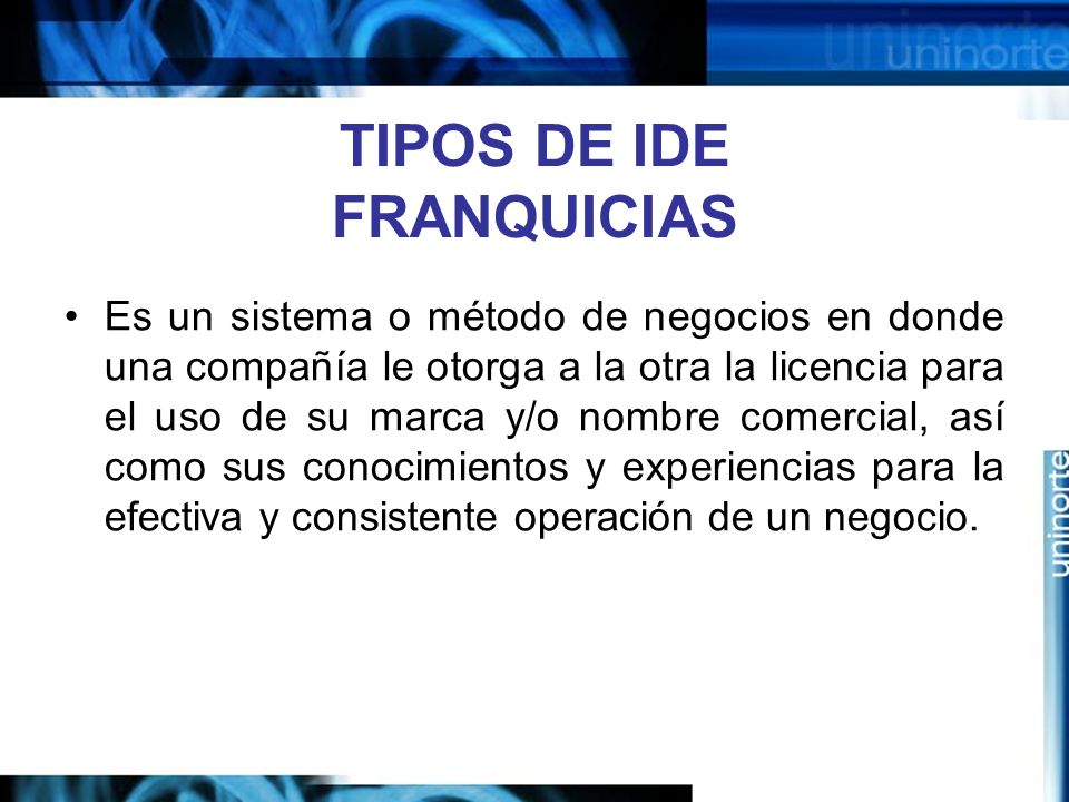 TIPOS DE IDE FRANQUICIAS