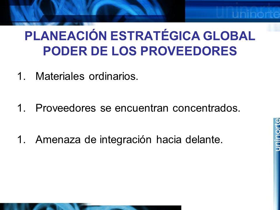 PLANEACIÓN ESTRATÉGICA GLOBAL PODER DE LOS PROVEEDORES