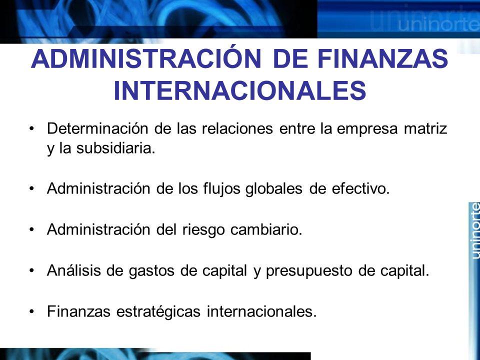 ADMINISTRACIÓN DE FINANZAS INTERNACIONALES
