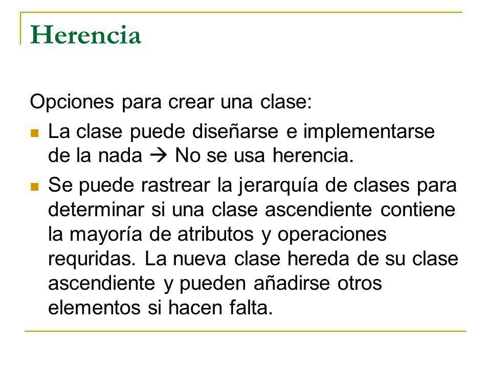 Herencia Opciones para crear una clase: