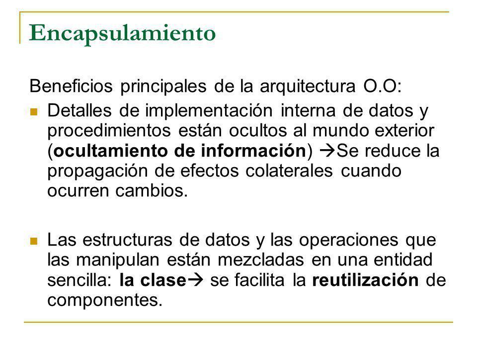 Encapsulamiento Beneficios principales de la arquitectura O.O: