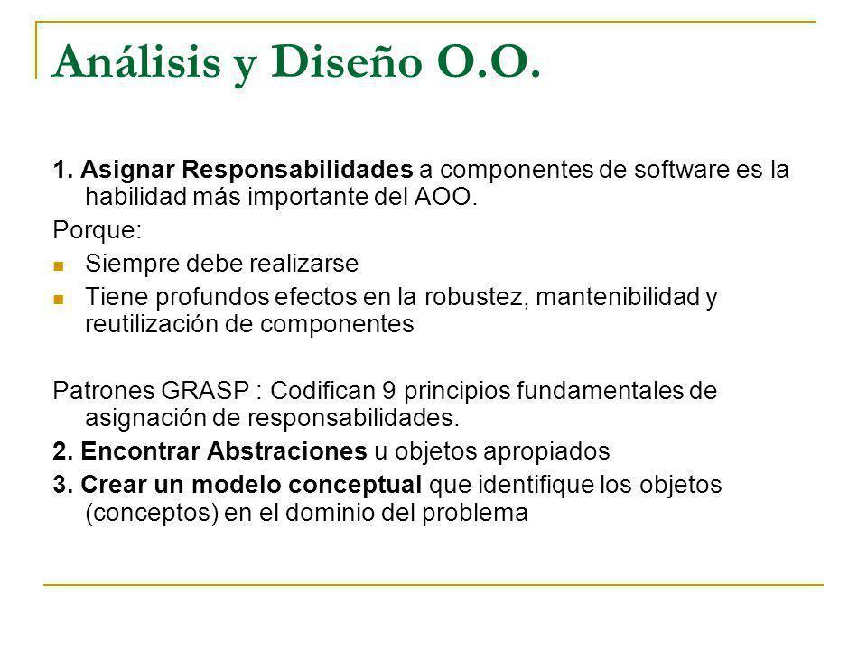 Análisis y Diseño O.O. 1. Asignar Responsabilidades a componentes de software es la habilidad más importante del AOO.