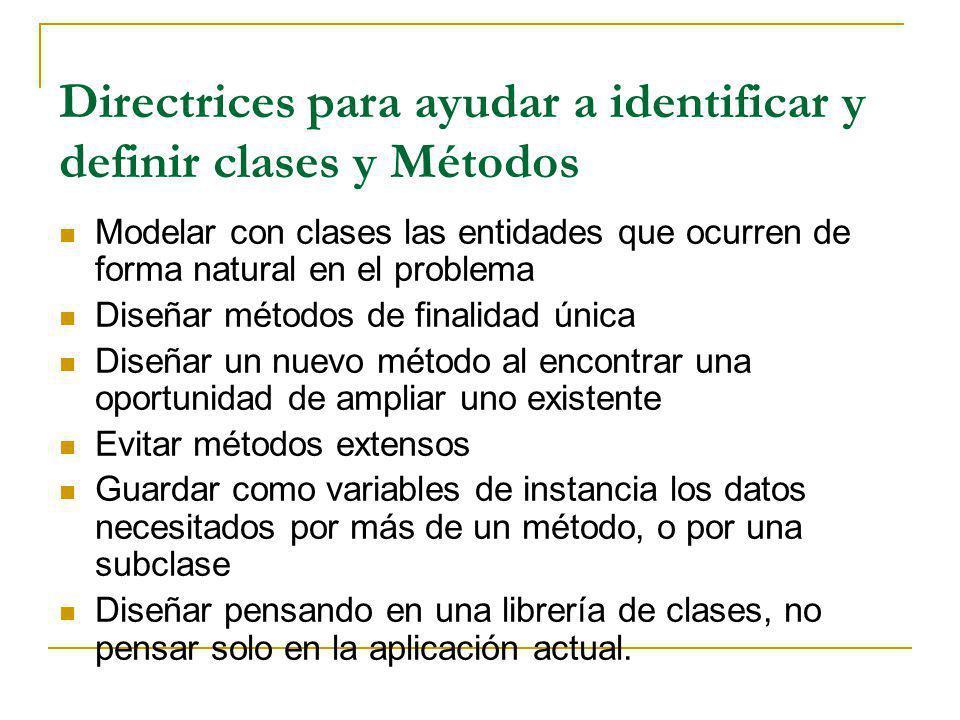 Directrices para ayudar a identificar y definir clases y Métodos