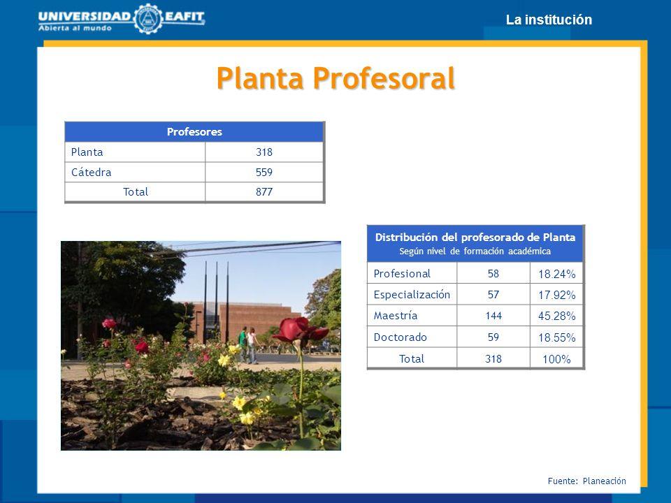 Distribución del profesorado de Planta