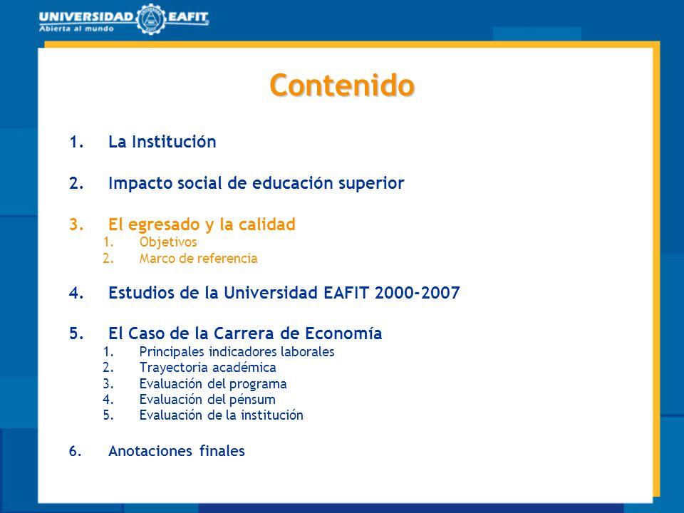 Contenido La Institución Impacto social de educación superior