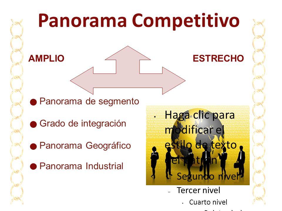 Panorama Competitivo AMPLIO. ESTRECHO. Panorama de segmento. Haga clic para modificar el estilo de texto del patrón.