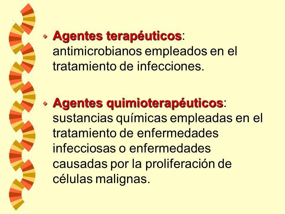 Agentes terapéuticos: antimicrobianos empleados en el tratamiento de infecciones.