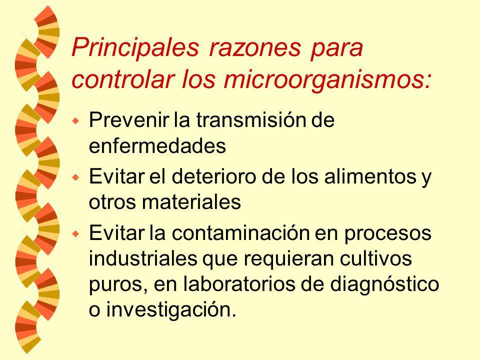 Principales razones para controlar los microorganismos: