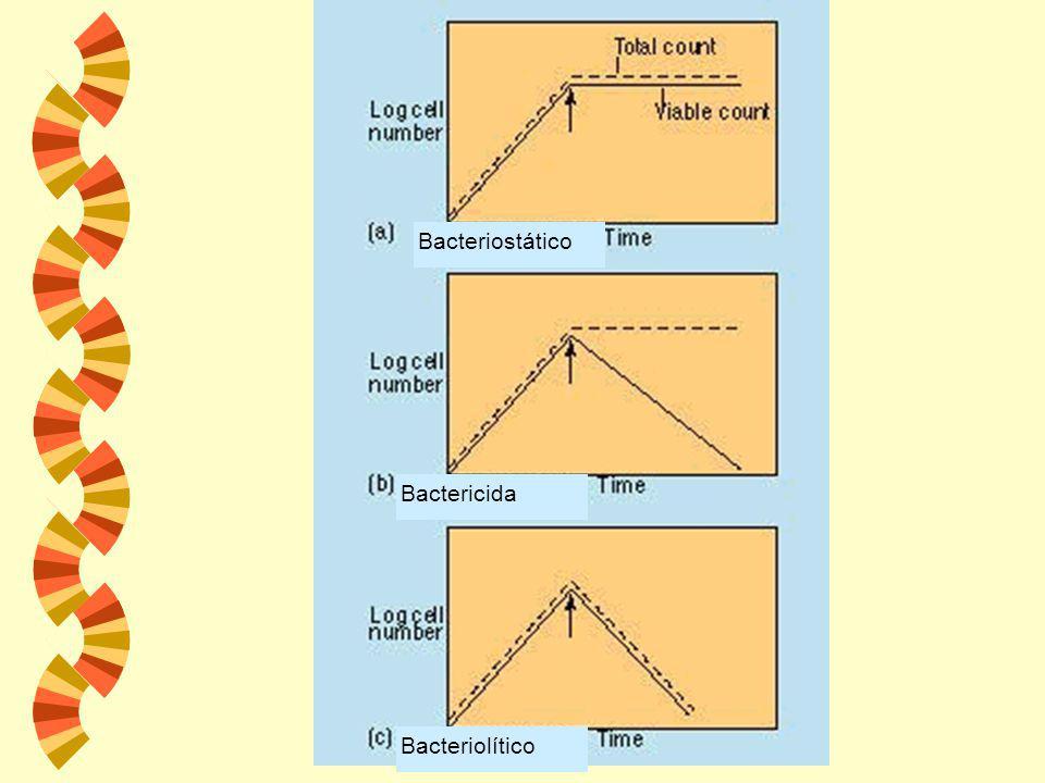 Bacteriostático Bactericida Bacteriolítico