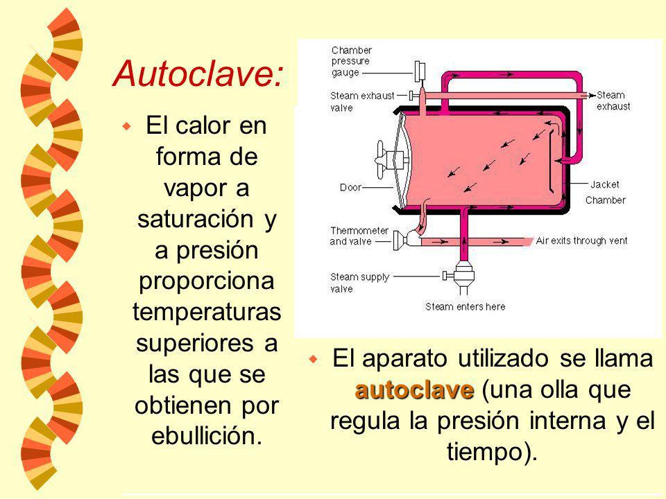 Autoclave: El calor en forma de vapor a saturación y a presión proporciona temperaturas superiores a las que se obtienen por ebullición.