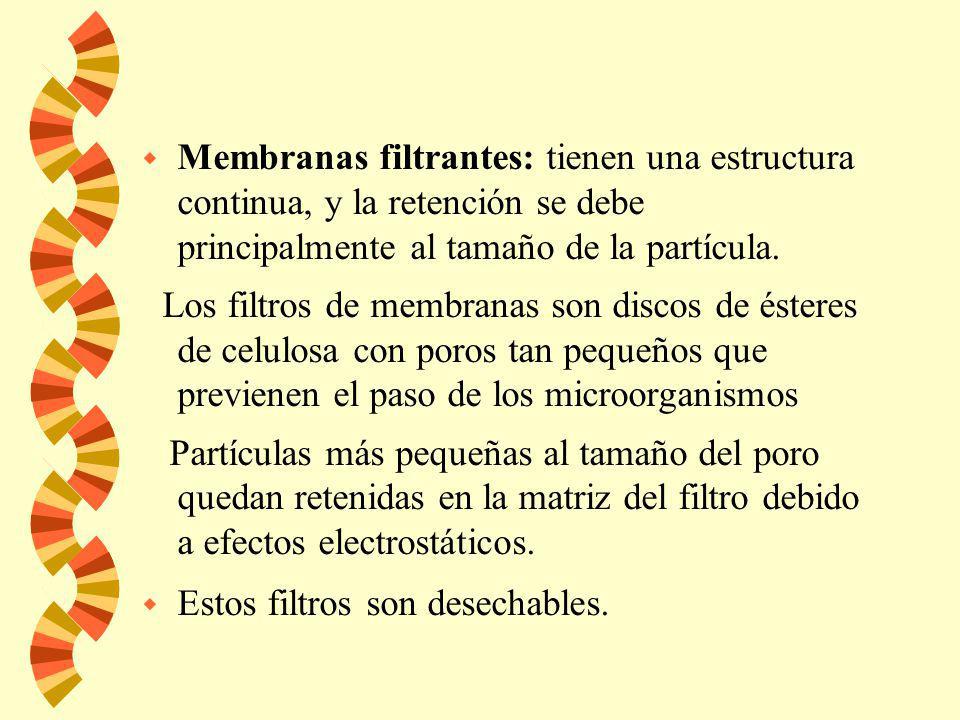 Membranas filtrantes: tienen una estructura continua, y la retención se debe principalmente al tamaño de la partícula.