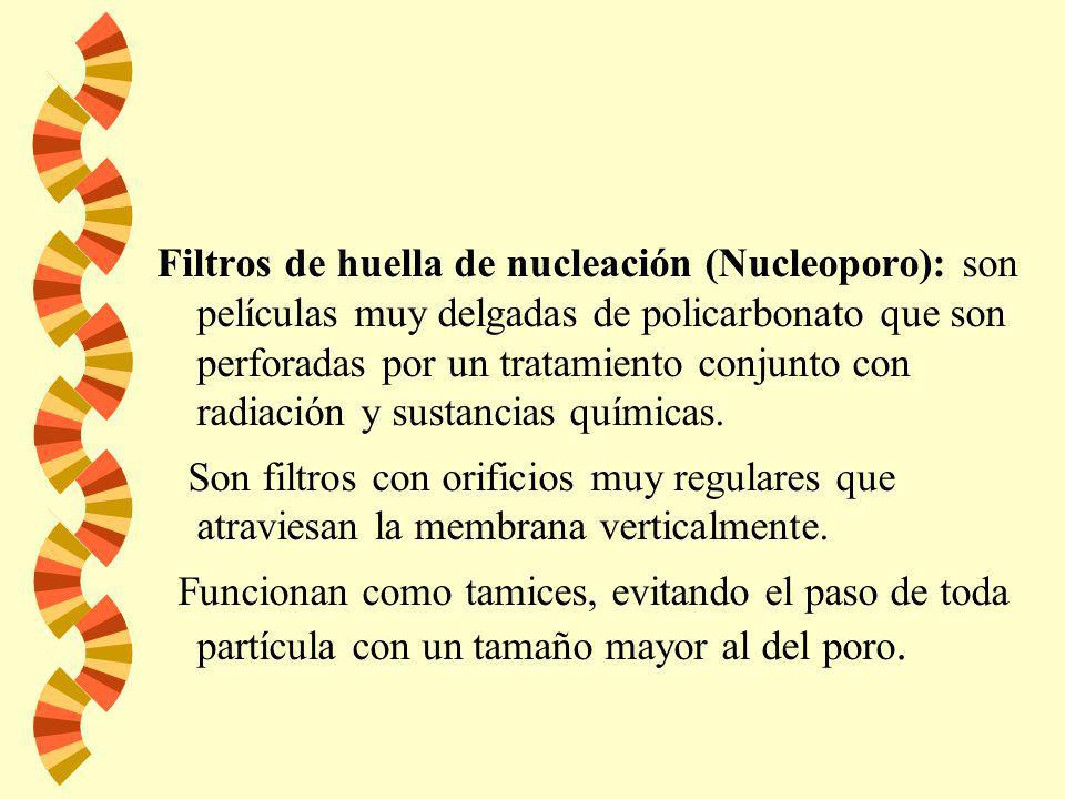 Filtros de huella de nucleación (Nucleoporo): son películas muy delgadas de policarbonato que son perforadas por un tratamiento conjunto con radiación y sustancias químicas.