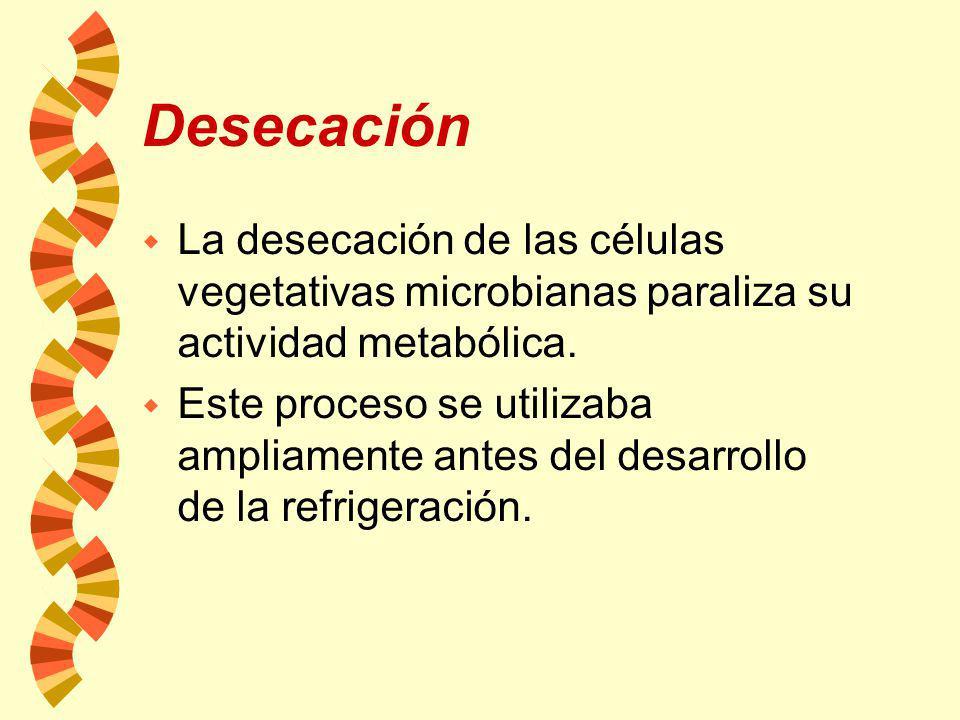 Desecación La desecación de las células vegetativas microbianas paraliza su actividad metabólica.