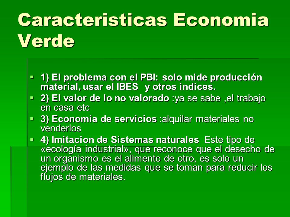 Caracteristicas Economia Verde