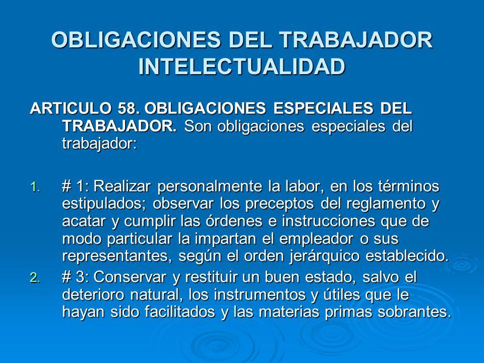 OBLIGACIONES DEL TRABAJADOR INTELECTUALIDAD