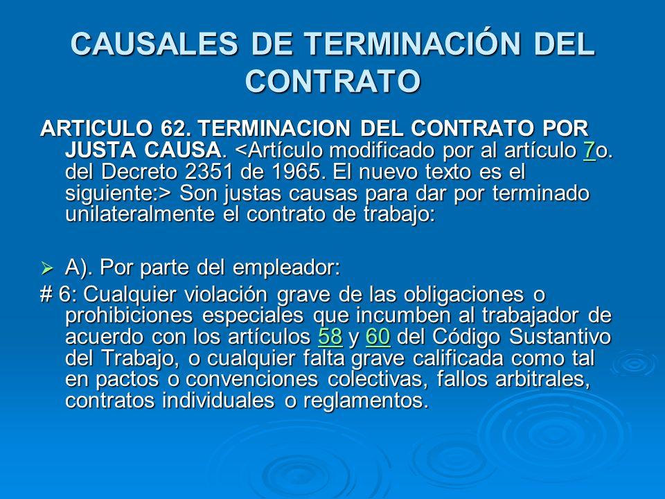CAUSALES DE TERMINACIÓN DEL CONTRATO
