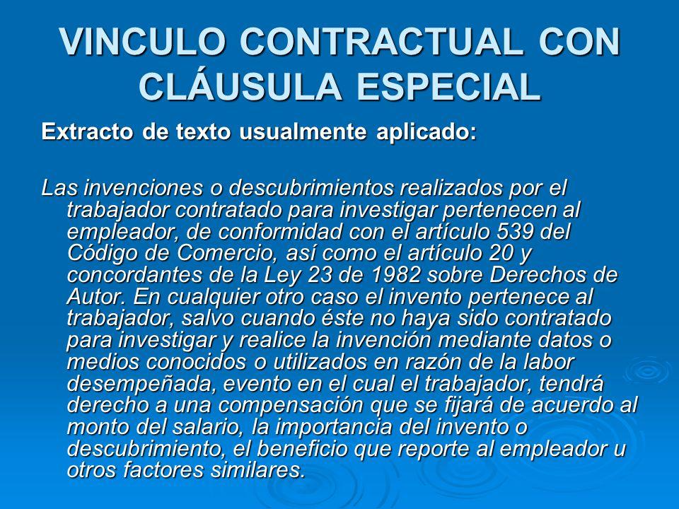 VINCULO CONTRACTUAL CON CLÁUSULA ESPECIAL