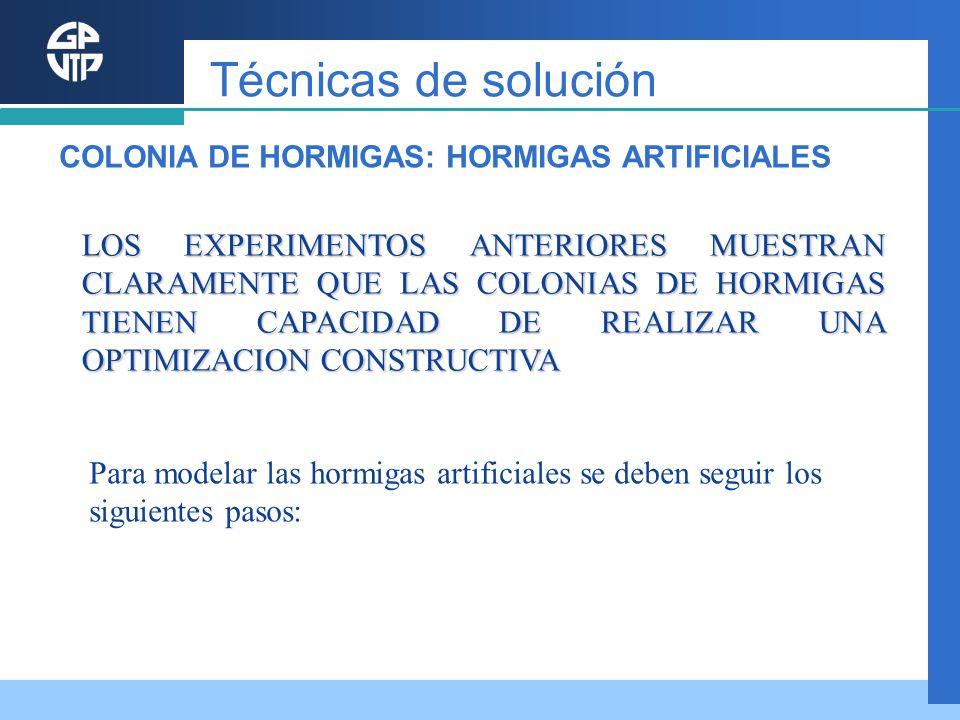 Técnicas de solución COLONIA DE HORMIGAS: HORMIGAS ARTIFICIALES.