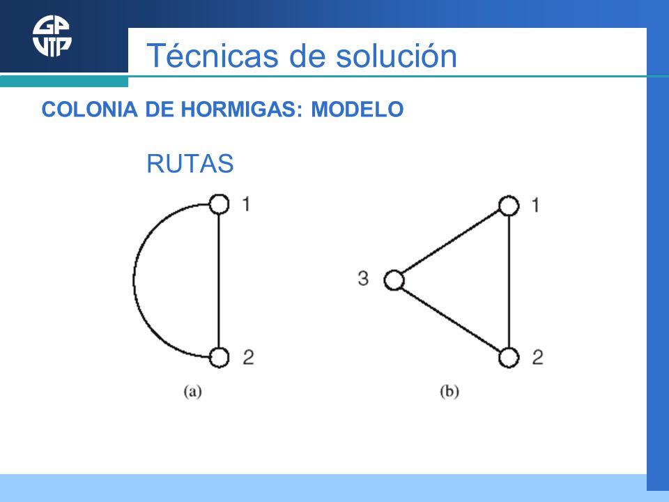 Técnicas de solución COLONIA DE HORMIGAS: MODELO RUTAS
