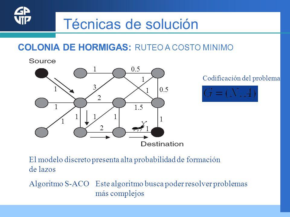 Técnicas de solución COLONIA DE HORMIGAS: RUTEO A COSTO MINIMO
