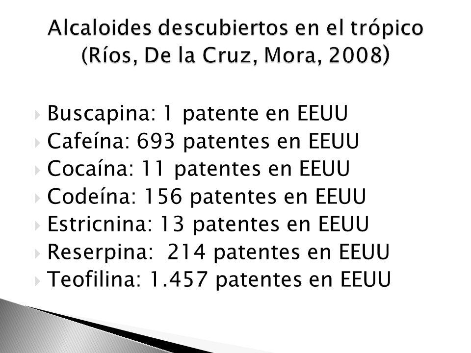 Alcaloides descubiertos en el trópico (Ríos, De la Cruz, Mora, 2008)