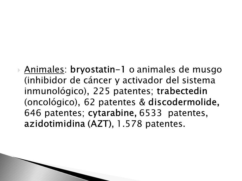 Animales: bryostatin-1 o animales de musgo (inhibidor de cáncer y activador del sistema inmunológico), 225 patentes; trabectedin (oncológico), 62 patentes & discodermolide, 646 patentes; cytarabine, 6533 patentes, azidotimidina (AZT), 1.578 patentes.
