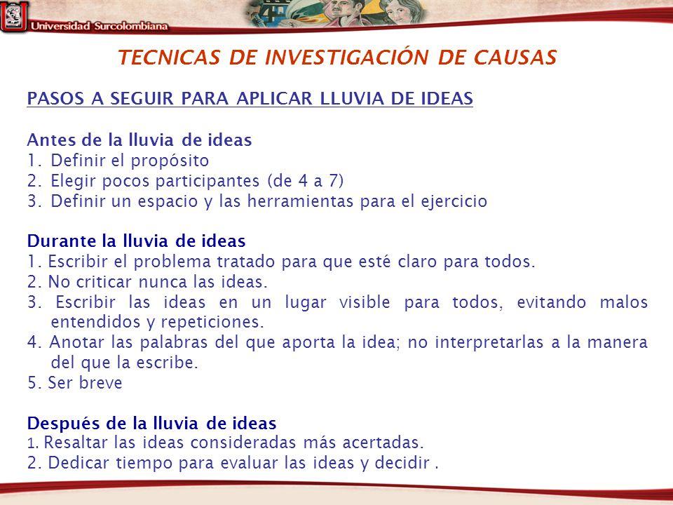 TECNICAS DE INVESTIGACIÓN DE CAUSAS