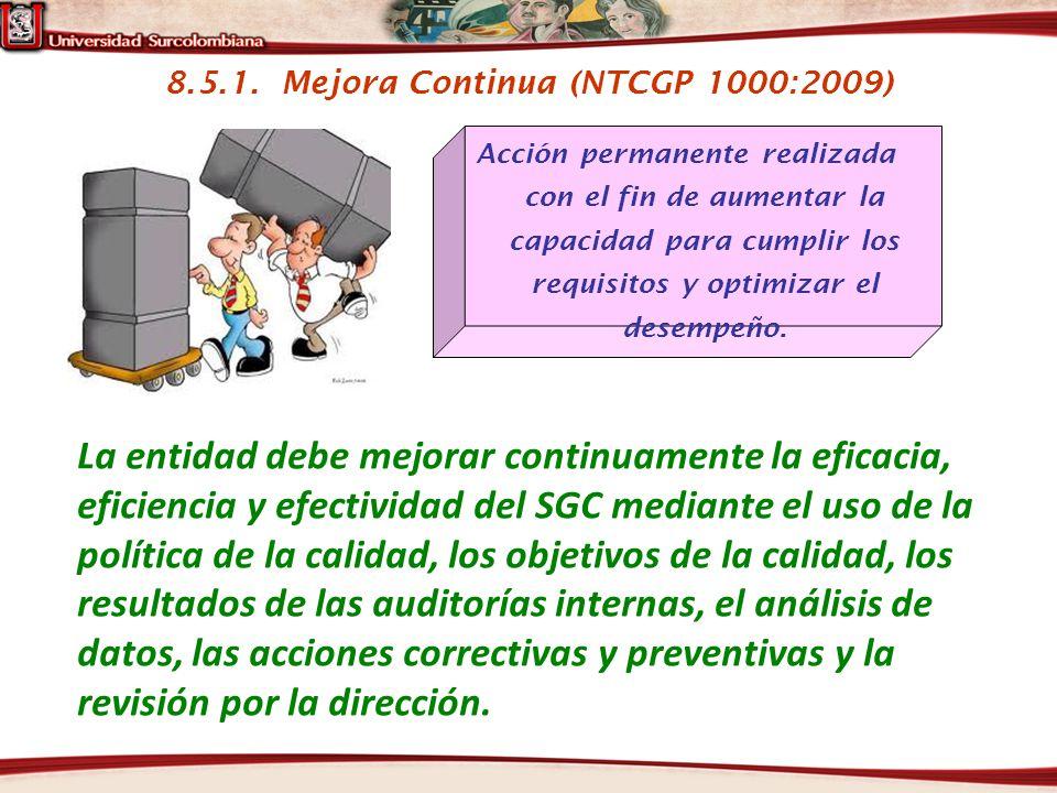 8.5.1. Mejora Continua (NTCGP 1000:2009)