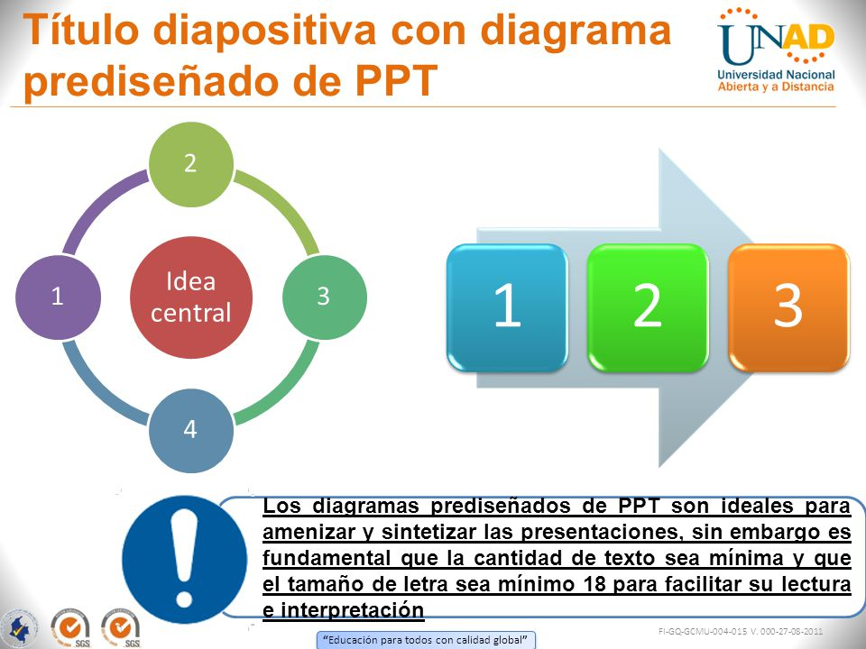 Título diapositiva con diagrama prediseñado de PPT