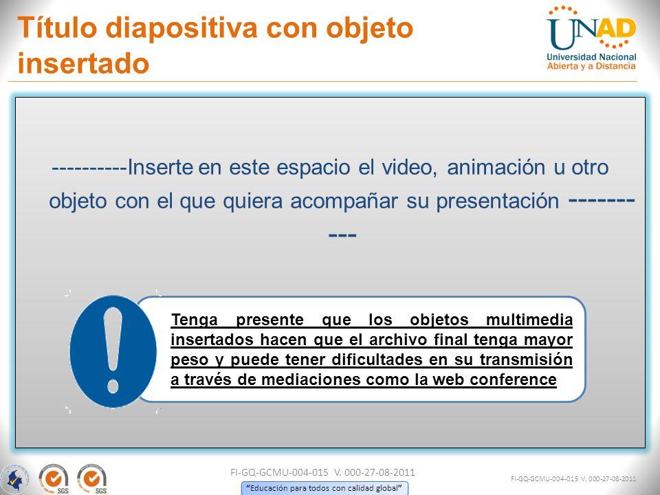 Título diapositiva con objeto insertado