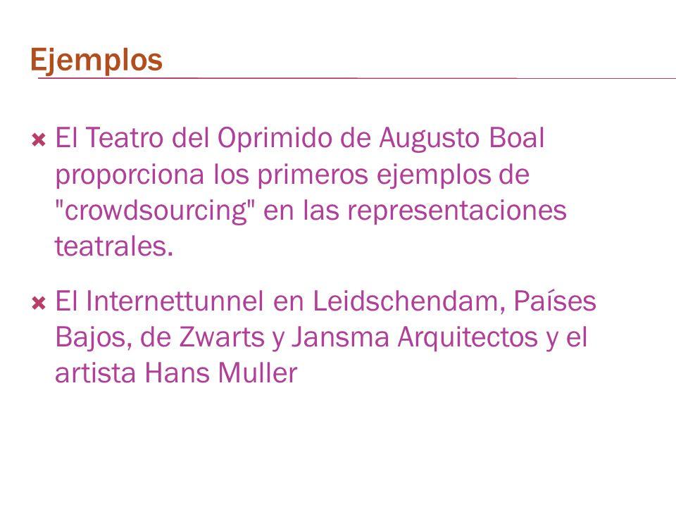 Ejemplos El Teatro del Oprimido de Augusto Boal proporciona los primeros ejemplos de crowdsourcing en las representaciones teatrales.