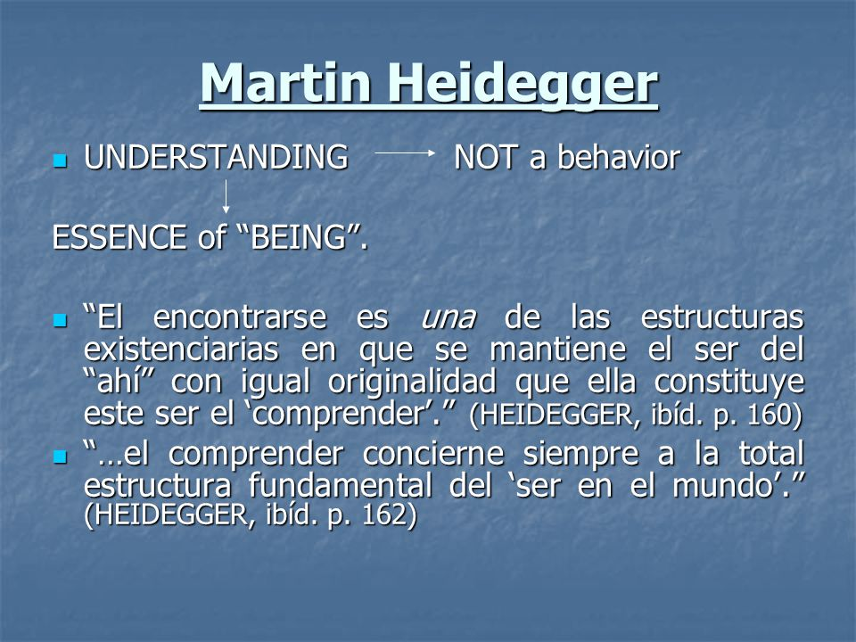 Martin Heidegger UNDERSTANDING NOT a behavior ESSENCE of BEING .