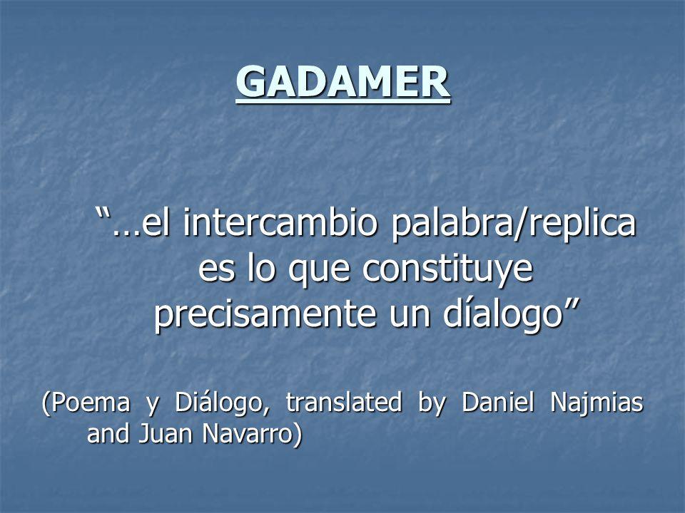 GADAMER …el intercambio palabra/replica es lo que constituye precisamente un díalogo