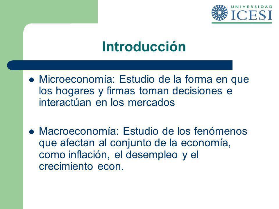 Introducción Microeconomía: Estudio de la forma en que los hogares y firmas toman decisiones e interactúan en los mercados.