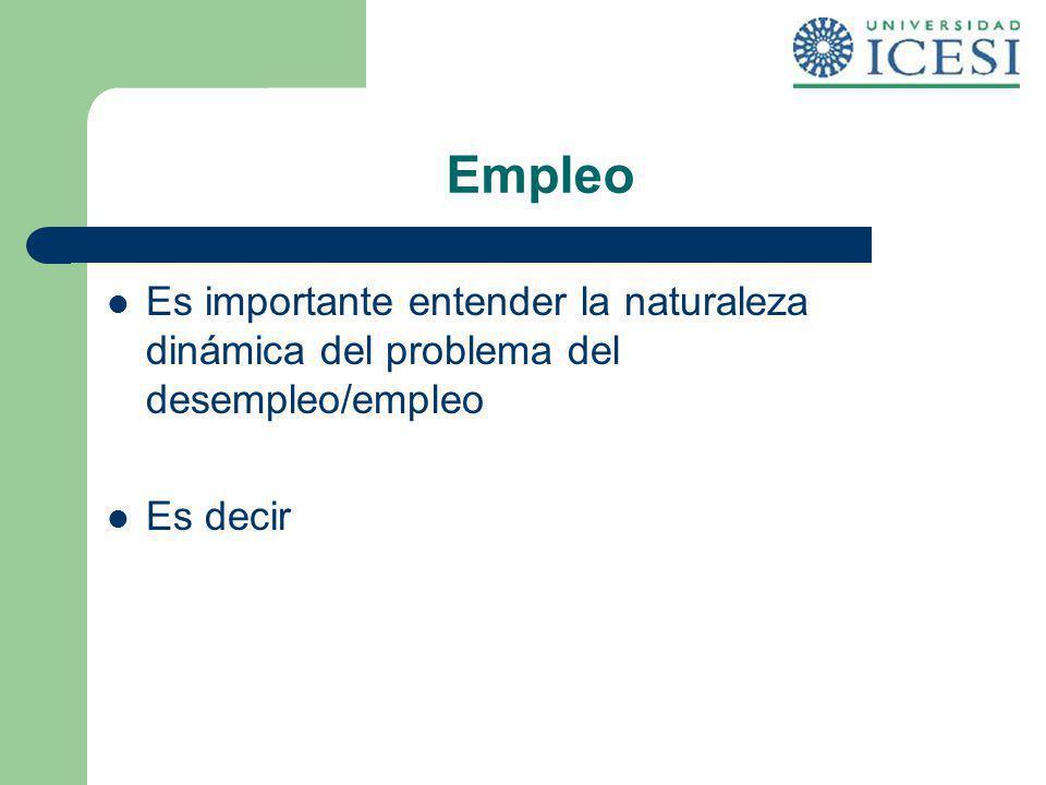 Empleo Es importante entender la naturaleza dinámica del problema del desempleo/empleo Es decir