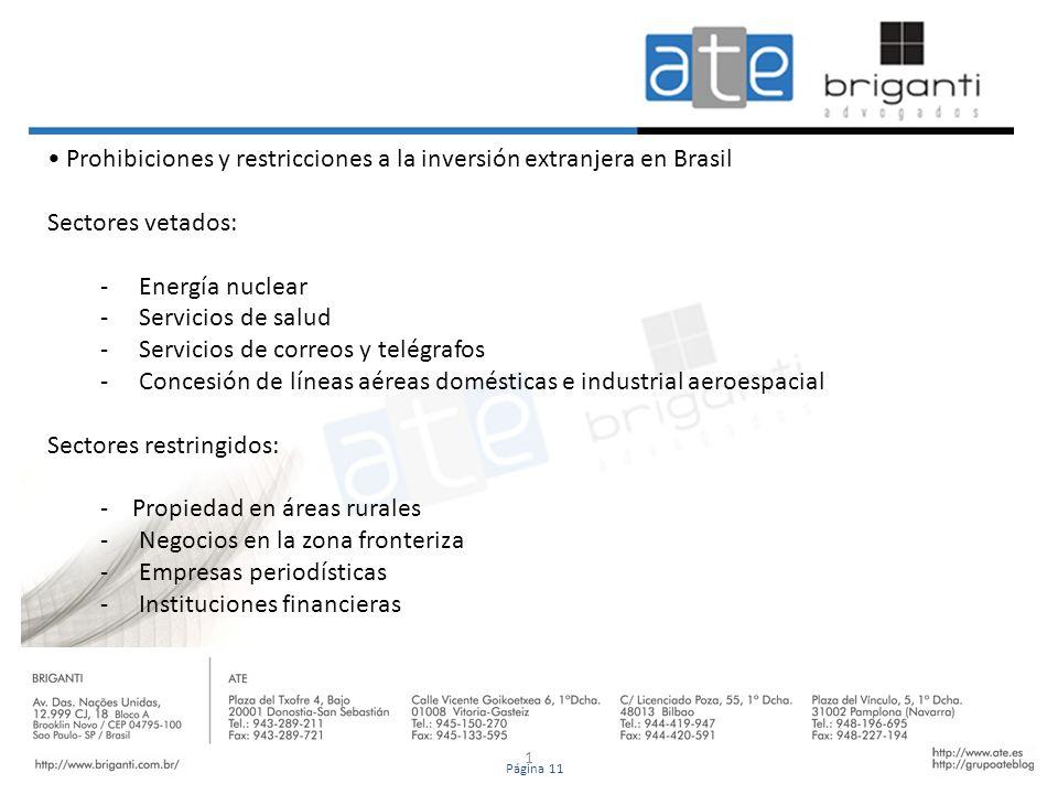 • Prohibiciones y restricciones a la inversión extranjera en Brasil
