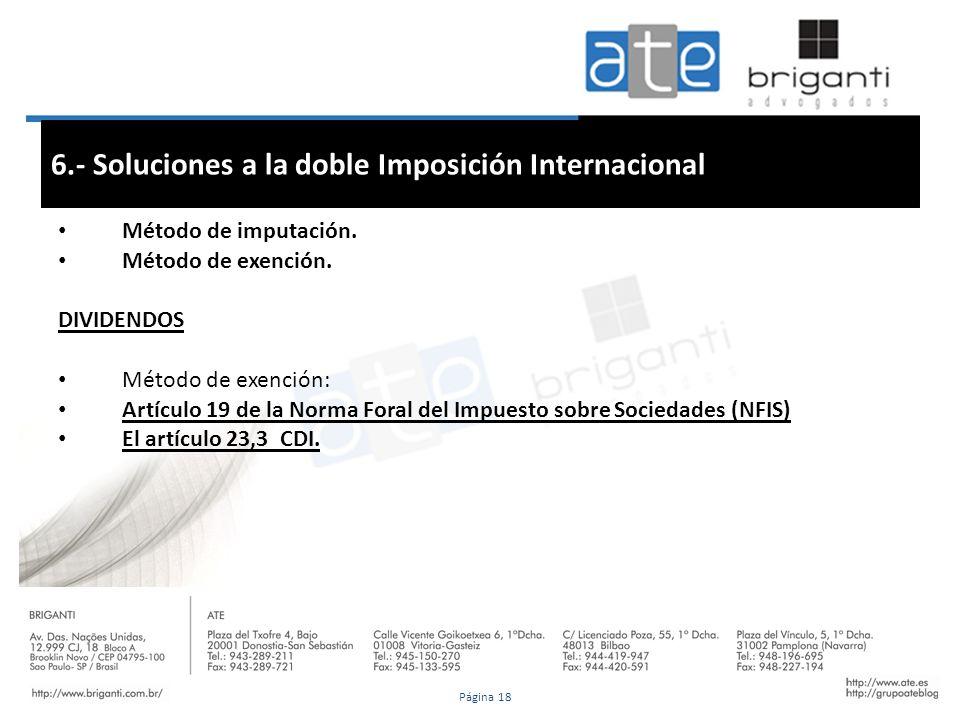 6.- Soluciones a la doble Imposición Internacional