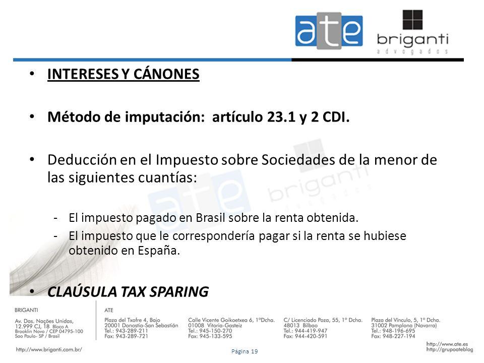 Método de imputación: artículo 23.1 y 2 CDI.