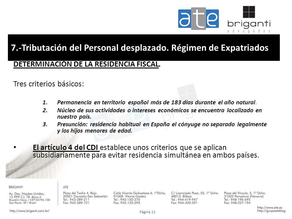 7.-Tributación del Personal desplazado. Régimen de Expatriados