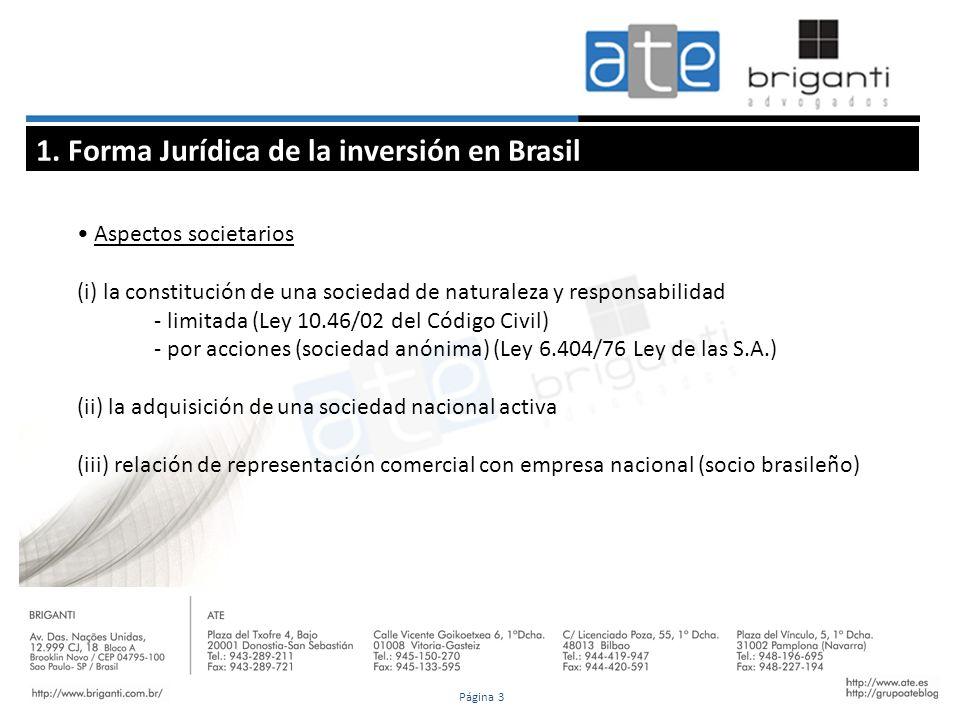 1. Forma Jurídica de la inversión en Brasil