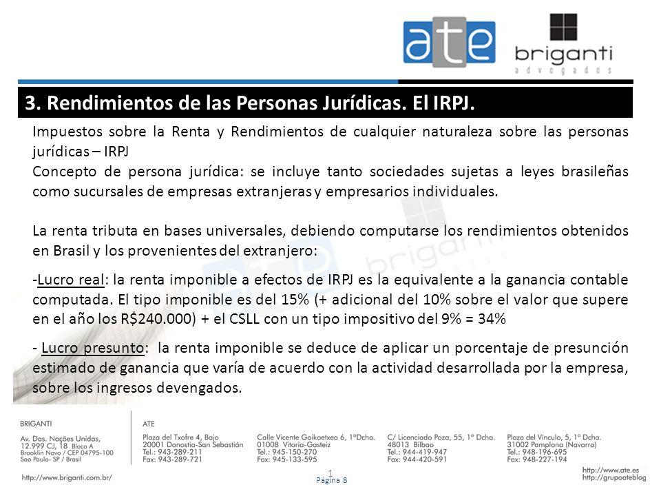 3. Rendimientos de las Personas Jurídicas. El IRPJ.