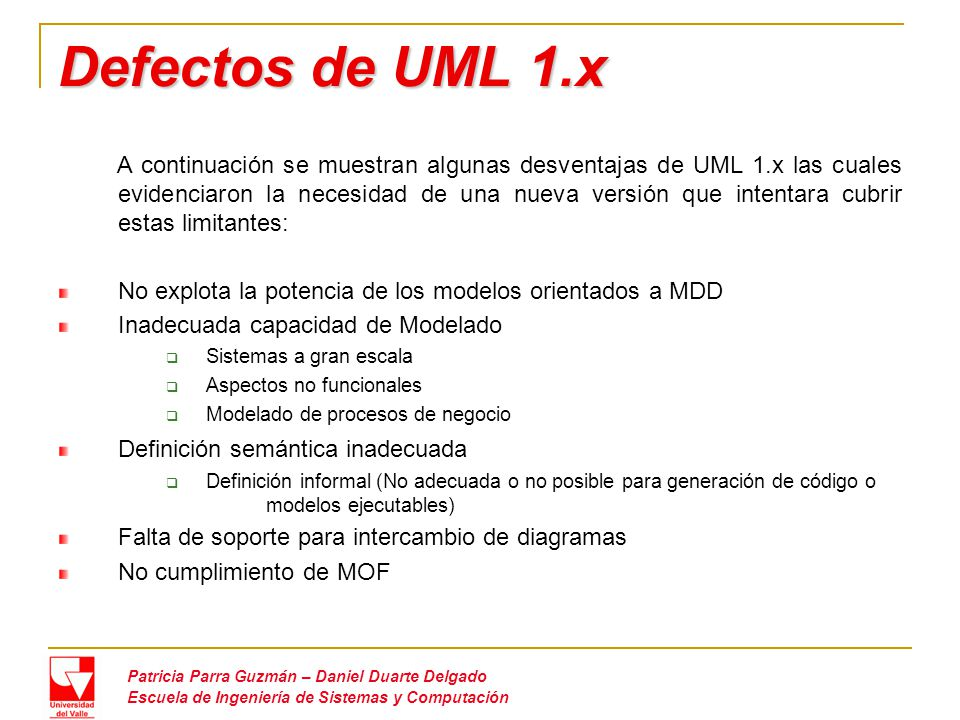 Defectos de UML 1.x